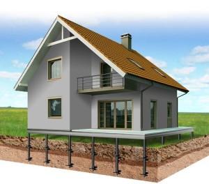 газобетонный дом на сваях